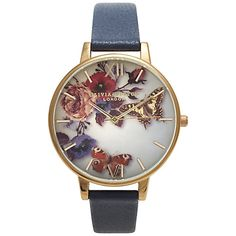 Olivia Burton OB14WG03 Winter Garden Floral Watch, Navy Online at johnlewis.com