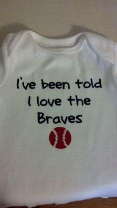 I've been told I love the Atlanta Braves baseball onesie. $10.00, via Etsy.