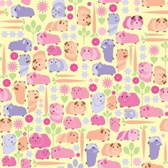 Guinea pig vegetable patch fabric by ebygomm at Spoonflower
