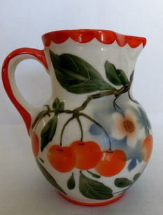 Vintage Cherries Pitcher Erphila Art Pottery Czechoslavakia Hand Painted