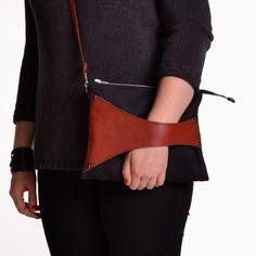 Leather Detail Cross Body Bag Clutch in Black Linen & Brick