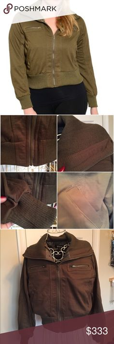 "OLIVE ""BOMBER"" JACKET outside is 60% cotton 40% poly. jacket is fully lined. lining is 100% poly. Features zip pockets at chest level. Pockets on side. Zips all the way up. Ribbed cuffs, waist, and collar. ❌These are marked 1X 2X 3X but are smaller. Please read measurements. The 1X and 2X measures approx: bust 20 pit to pit. Length is 20 inches. Arms are about 23 inches from shoulder and the shoulders are about 15/16. The 3X measures bust 21.5 pit to pit. Shoulders about 16 arm length about…"