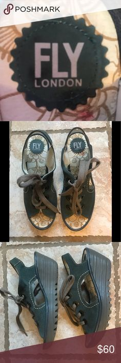 Fly London shoes Known for comfort, these Fly London open toe shoes are such a gift for your feet. An added bonus...these cute tie wedges are practically brand new! Add in the generous bonus if you bundle from my closet. Fly London Shoes Wedges