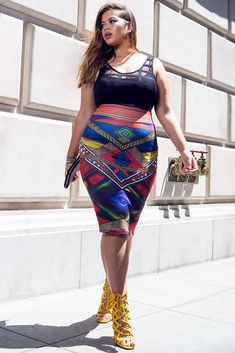 Plus Size Bright Abstract Pencil Skirt