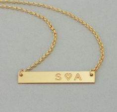 Best Selling Gold Bar Necklace! This necklace features an engraved and personalized 14k gold filled/rose gold filled/ or sterling silver bar that