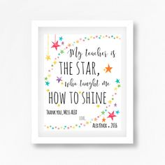 A personalised teacher gift that is suitable for a special teacher, teaching assistant or daycare teacher. Spoil them with this beautiful print, personalised to include their name, childs name and the year taught. With this beautiful quote, its an appreciation gift that can be