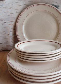 Buffalo China Kenmore Pattern Retro Diner Restaurant Ware Red on White - Set of 4 Cups and Saucers | Diner restaurant Diners and Buffalo & Buffalo China Kenmore Pattern Retro Diner Restaurant Ware Red on ...