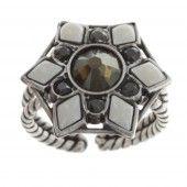 Konplott Ring klein Arabic Nights weiss / grau silber
