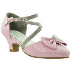 Girls T-Strap Bow Glitter High Heel Sandals White | Glitter high ...