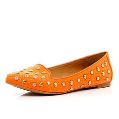 Orange skull studded slipper shoes - slipper shoes - shoes / boots - women