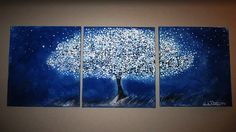 "Title: Blue Tree at Night - $59  - Size: Total needed space: 48"" x 20"" - 3 canvases: 16"" x 20"" each.  - Canvas, gallery wrapped, 3/4"" thick.  - Edges are staple free (stapled on the back) and painted.  - No framing is required.  - The piece is composed of 3 canvases. The listed price includes ALL 3 canvases."