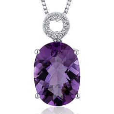 PLEASE TAKE A MOMENT TO VISIT OUR STORE FOR MORE GREAT DEALS ON BEAUTIFUL JEWELRY!         MSRP: $359.99  Our Price: $229.99  Savings: $130.00         Item Number: SP10342    Availability: Usually Ships in 5 Business Days         PRODUCT DESCRIPTION:    A large oval Genuine Amethyst sits prominently at the center of this solitaire pendant for her and features a circle bail pave set with sparkling cubic zirconia. A perfect gift for Mothers Day, Birthdays, Valentines Day, Graduation, Christmas…