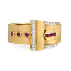 Retro ruby and diamond buckle bracelet