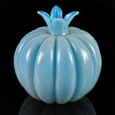 Seguso Vetri D' Arte Murano Blue Gold Art Glass Vase