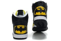Batman Nike DC The Dark Knight Black Yellow : Cool High Tops Nikes Dunks Adidas Converse Cartoon Shoes, Cheap For Sale