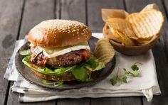 Gourmet burger wrapped in bacon with melted brie Gourmet Burgers, Recipe Search, Cooking Classes, Brie, Baking Recipes, Delicious Desserts, Hamburger, Bacon, Dinner