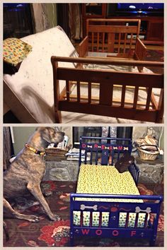 use a convertible crib or toddler bed for a great dane dog bed