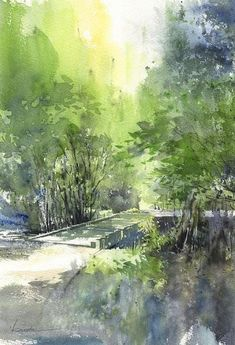 40 Easy Watercolor Landscape Painting Ideas for Beginners - FeminaTalk 40 Easy Watercolor Landscape Painting Ideas for Beginners – FeminaTalk Watercolor Landscape Paintings, Watercolor Trees, Easy Watercolor, Landscape Art, Art Aquarelle, Guache, Beginner Painting, Art And Illustration, Illustrations