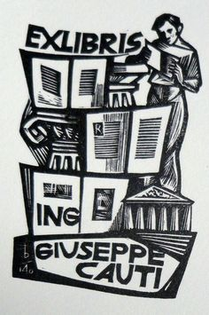 Ex libris by Oriol Maria Diví (Catalan, 1924-2013) Ex Libris, Poster Ads, Block Prints, Book Of Life, Woodblock Print, Bookmarks, Printmaking, Hand Carved, Inspirational