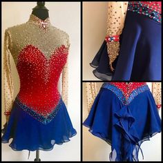Red Blue Ice Skating Dresses Girls Women 2018 Informations About Red Blue Ice Skating Dresses G Figure Skating Outfits, Figure Skating Costumes, Figure Skating Dresses, Ice Skating Costume, Girls Dance Costumes, Dance Outfits, Skate Wear, Ballroom Dance Dresses, Dance Leotards