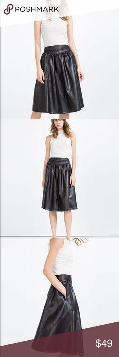Zara vegan leather  2016 flounce high waist skirt Vegan leather super trendy midi , side pockets , zipper on back high waisted, additional pics on other listing available in Sz XS or S Zara Skirts Midi
