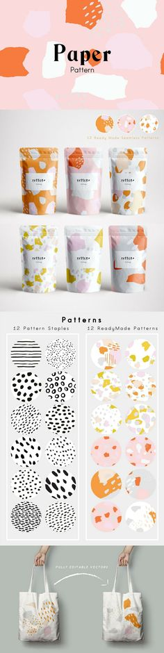 Set of 24 seamless and editable vector patterns created from ink, pen and paper cutouts for contemporary abstract designs.