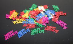 Happy birthday confetti. Party confetti. Colored by ramonaignat