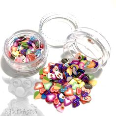 Millefiori Heart Cane Slices - Small Jar for Mixed Media, Clay, Slices Polymer Clay Canes, Clay Projects, Slime, Sprinkles, Mixed Media, Jar, Candy, Sweets, Mixed Media Art