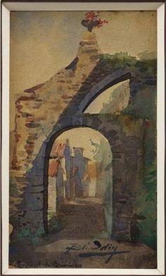 """Blanche ODIN """"St Bertrand de Comminges"""" Aquarelle 13 x 7 cm SBD"""