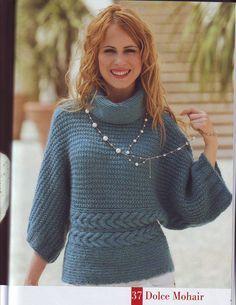 Вязаный пуловер поперечным вязанием спицами с описанием из Mondeal 14.