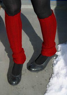 Red Leg Warmers Merino Wool Legwear Yoga Socks Spats