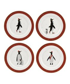 Instantly add a dash of wintry flair to the table with this cheery set of dessert plates, each sporting a whimsical penguin scene. Includes four dessert diameterPorcelainHand washImported Christmas Decals, Penguin Love, Christmas Settings, Boutique, Salad Plates, Fine China, Plate Sets, Coaster Set, Tablescapes