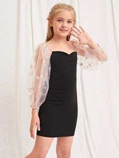 Girls Casual Dresses, Kids Outfits Girls, Cute Girl Outfits, Pretty Outfits, Cute Dresses, Dresses With Sleeves, Tween Fashion, Girls Fashion Clothes, Teen Fashion Outfits