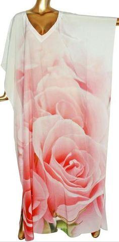 Luxury soft silk Kaftan spiral of rose petals. Rose - Victoria Luxury Silk Embellished Kaftan Dress Tunic Cardigan Maxi Dress
