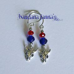 "These cowgirl earrings dangle at 2 inches on silver plated handmade hooks with red & blue crystal beads.  Please visit & ""like"" me on FaceBook & be notified of Give-Aways!"