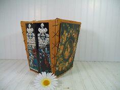 Vintage Folk Art Hand Crafted Waste Bin  Retro Boy by DivineOrders, $28.00