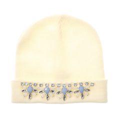 Cream Statement Bling Beanie Hat