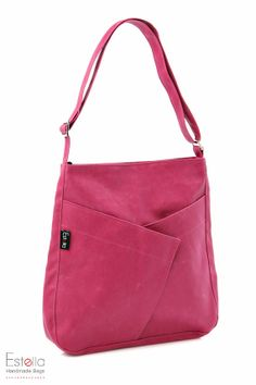 Pink Messenger bag Purse Made Of Canvas fabric for Everyday Use - Diagonal Origami via Etsy