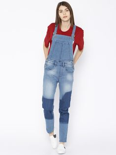 Buy Roadster Blue Washed Denim Dungarees online Buy Roadster Blue Washed  Denim Dungarees online in India at best price. Blue denim dungarees lightly  washed ...