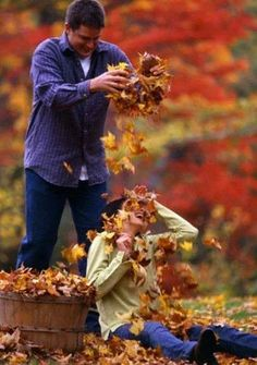 Leaves Autumn Couple Fun Joy