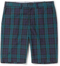 Beams Plus Slim-Fit Checked Cotton Shorts