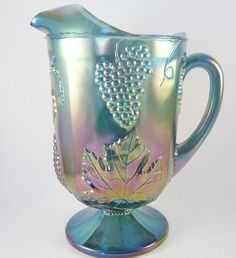 Vintage Indiana Blue Carnival Glass Pitcher by MSMUnlimited, $30.00