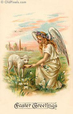 #Easter #vintage #ephemera #angel #lamb