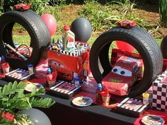 Cars parties ideas  Borrow some old tyres from the local tyre shop to use for seating, decorating, tiering our table