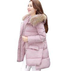 (36.25$)  Watch here - http://aiuss.worlditems.win/all/product.php?id=32771372842 - Snow Wear Faux Fur Hood Parka Winter Jacket Women Thick Warm Cotton Winter Coat Women Casaco Manteau Femme