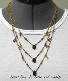 Vintage Avon Gemstone Necklace: Triple Strand Semi Precious Stone Teardrop Shape Amethyst with Purple/Green Beads Layered Gold tone Chain by bansheehouseofmake on Etsy