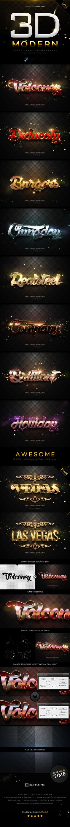 Modern 3D Text Effects GO.3 #photoshop Download here: http://graphicriver.net/item/modern-3d-text-effects-go3/10193239?ref=ksioks