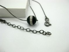 Boho Choker, Chain Choker, Beaded Choker, Simple Choker Necklace, Black Bead Choker, Sterling Silver Necklace, Stone Choker