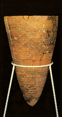 An earthenware in Japan in the Neolithic Period.   BC.9,000 - BC.5,000.
