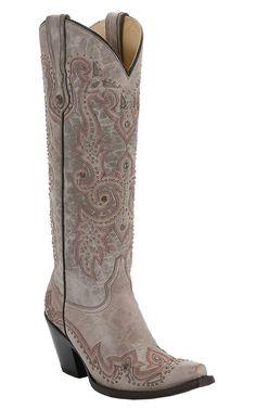 Corral® Women's Tall Top Bone Tan w/ Wingtip & Studs Snip Toe Western Boots | Cavender's Boot City